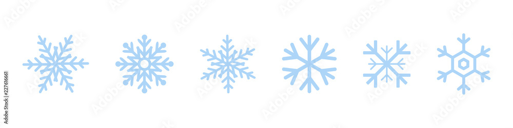Fototapeta Set of blue Snowflakes icons. Black snowflake. Snowflakes template. Snowflake winter. Snowflakes icons. Snowflake vector icon