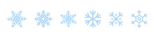 Set Of Blue Snowflakes Icons. ...