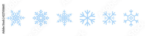 Obraz Set of blue Snowflakes icons. Black snowflake. Snowflakes template. Snowflake winter. Snowflakes icons. Snowflake vector icon - fototapety do salonu