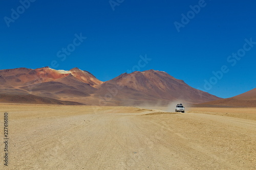 Poster de jardin Desert de sable Travel to Bolivia: Salvador Dalí Desert, also known as Dalí Valley, is an extremely barren valley of southwestern Bolivia