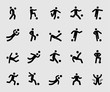 Silhouette icons set for Soccer player motion