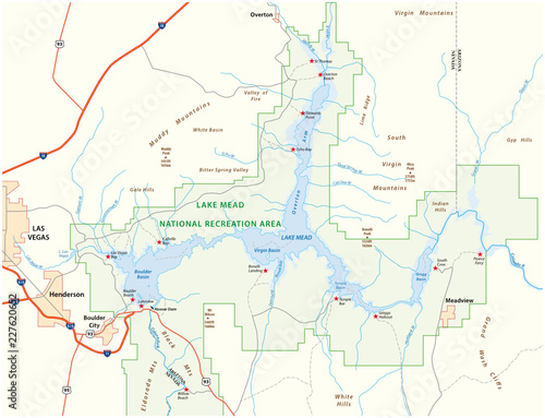 Lake Mead vector map, Nevada, Arizona, United States - Buy this ...