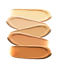 BB CC Foundation Smudged Cream White Isolated Background