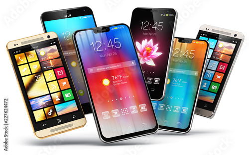 Photo  Modern touchscreen smartphones