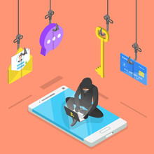 Isometric Flat Vector Concept Of Phishing, Computer Virus, Hacking, Cyber Attack.