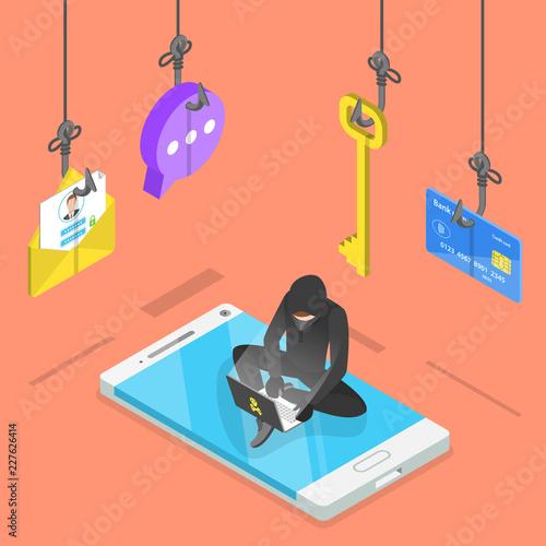 Fotografía  Isometric flat vector concept of phishing, computer virus, hacking, cyber attack