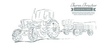 Farm Tractor With Sketch Style...