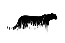 Vector Silhouette Of Tiger In ...