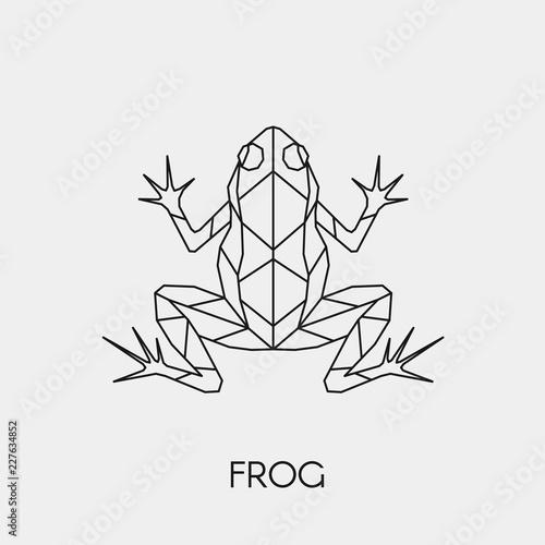 Naklejka premium Żaba geometryczna. Wieloboczne liniowe abstrakcyjne zwierzę. Ilustracji wektorowych