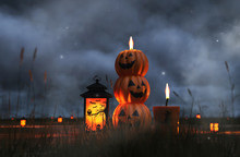 Scene Of Halloween Decoration At Night With Halloween Pumpkin,candles,caged Candle,3d Illustration