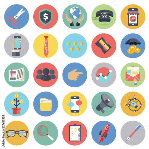 Business and management icon set for websites and mobile applications Canvas Print