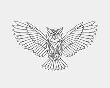 Geometric Owl. Polygonal Linea...