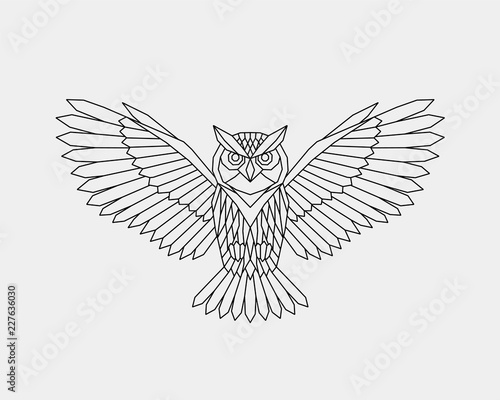 Photo Stands Owls cartoon Geometric owl. Polygonal linear abstract bird. Vector illustration