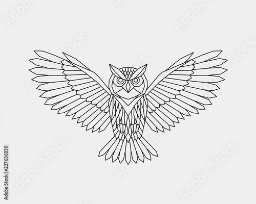 Foto op Aluminium Uilen cartoon Geometric owl. Polygonal linear abstract bird. Vector illustration