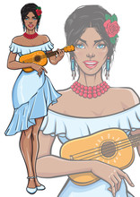 Singing Lady Playing Ukulele Guitar. Beautiful Smiling Female In Fashionable Summer White Dress With Rose In Her Hair. Vector Illustration In Pop Art, Comic, Pin Up Style. Isolated Mascot Poster.