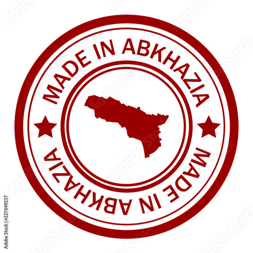 Red stamp with map of Abkhazia Canvas Print