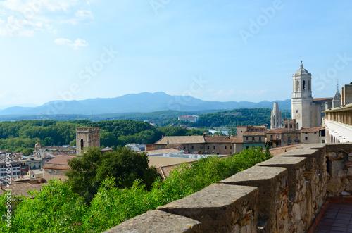 Fotobehang Mediterraans Europa Beautiful top view of historic center of Girona, Spain