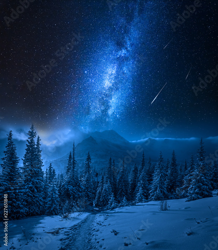 Tatras Mountains in winter at night and falling stars, Poland