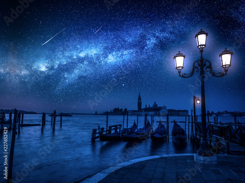 fototapeta na ścianę Milky way and falling stars over Grand Canal in Venice