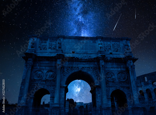 Milky way with falling stars over Triumphal arch, Rome, Italy