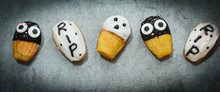Homemade Halloween Treats Ghost Tombstone Spooky Madeleines,Top View