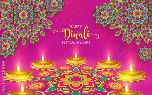 Photo  Happy Diwali festival card with gold diya patterned and crystals on paper color Background
