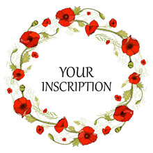 Seamless Wreath Of Red Poppies