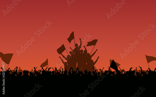 Cuadros en Lienzo Silhouette group of people Raised Fist and flags Protest in flat icon design wit