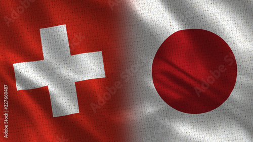 Switzerland and Japan - Two Flag Together - Fabric Texture #227660487