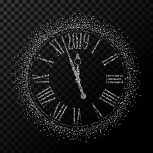 Vector 2019 Happy New Year Silver Glitter Classic Clock On Transparent Background