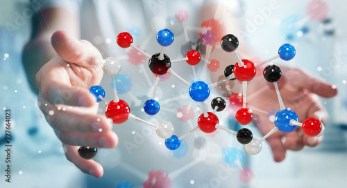 Businessman using modern molecule structure 3D rendering