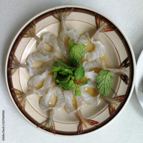 Fresh raw shrimp in fish sauce /Thai spicy food
