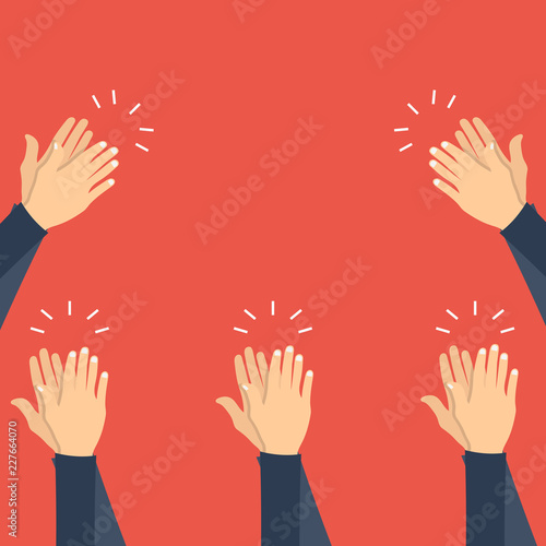 Hands clapping. Flat vector illustration Wallpaper Mural