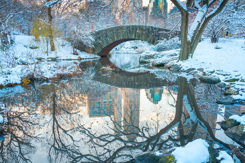 Keuken foto achterwand New York City Central Park. New York. USA in winter covered with snow. Gapstow bridge.