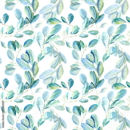 Foto op Plexiglas Kunstmatig Floral seamless pattern.Eucalyptus branches.Image for fabric, paper and other printing and web projects.Watercolor hand drawn illustration.White background.