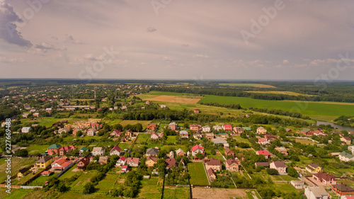 Aerial view of typical European village.