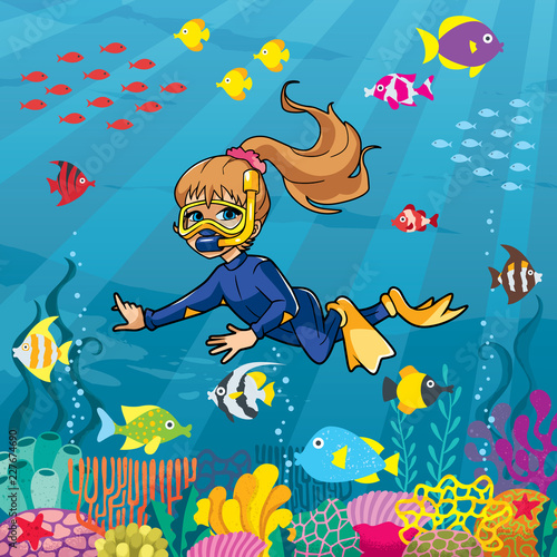 Aluminium Prints Submarine Illustration of little girl wearing diving mask, swim fins and neoprene suit while snorkeling in coral reef.