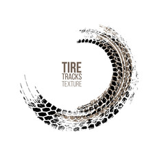 Tire Tracks Texture Isolated O...