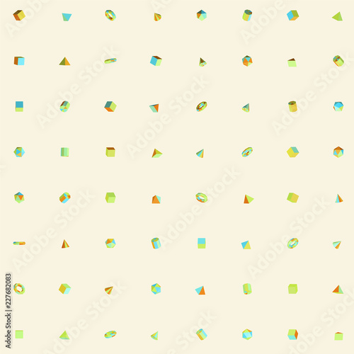 Playful 3D Geometric Shapes Set Pattern Isolated on Bright