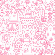 Day Of The Dead Line Seamless Pattern