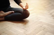 Adult Woman In Yoga Meditation...