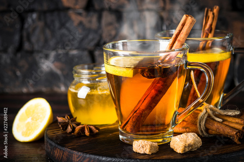 Recess Fitting Tea Autumn hot tea with lemon and spices