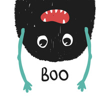 Funny Kids Print With Monster. Fashion Hand Drawn Graphic. Vector Illustration.