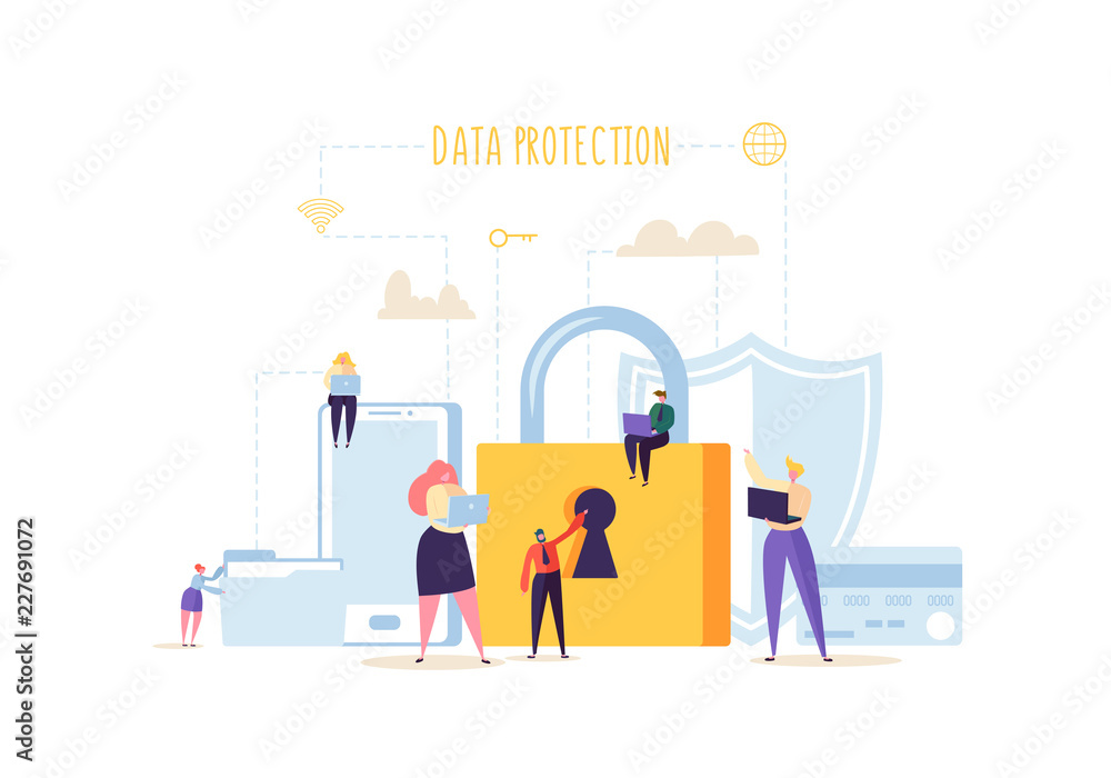 Fototapeta Data Protection Privacy Concept. Confidential and Safe Internet Technologies with Characters Using Computers and Mobile Gadgets. Network Security. Vector illustration
