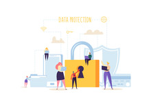 Data Protection Privacy Concept. Confidential And Safe Internet Technologies With Characters Using Computers And Mobile Gadgets. Network Security. Vector Illustration