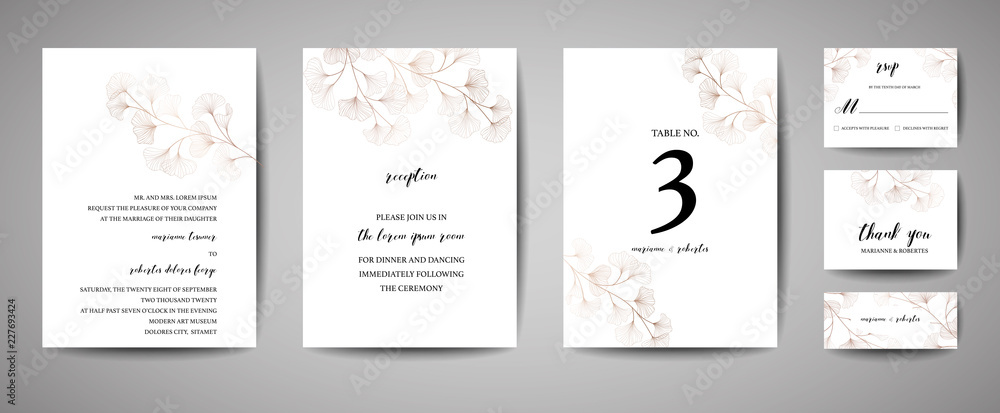 Fototapeta Wedding Invitation, floral invite thank you, rsvp modern card Design in copper ginkgo biloba leaves branches decorative. Vector elegant rustic template