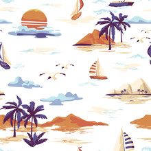 Vintage Beautiful Seamless Island Pattern On White Background. Landscape With Palm Trees, Yacht, Beach And Ocean Vector Hand Drawn Style