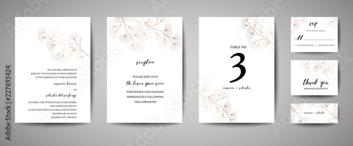 Fotografía  Wedding Invitation, floral invite thank you, rsvp modern card Design in copper ginkgo biloba leaves branches decorative