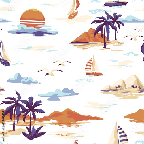 Vintage Beautiful seamless island pattern on white background. Landscape with palm trees, yacht, beach and ocean vector hand drawn style Wall mural