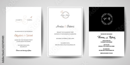 Fototapeta Wedding Monogram Logos Collection Hand Drawn Modern Minimalistic And Floral Templates For Invitation Cards Save The Date Elegant